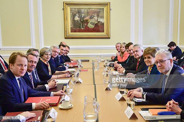British Prime Minister Theresa May chairs a Joint Ministerial Committee at Cardiff City Hall on January 30 2017 in Cardiff Wales Mrs May has made it...