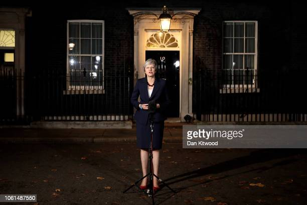 British Prime minister Theresa May delivers a Brexit statement at Downing Street on November 14 2018 in London England Theresa May addresses the...