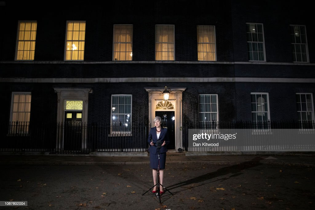 The British Prime Minister Confirms That Her Cabinet Back Brexit Draft Agreement : News Photo