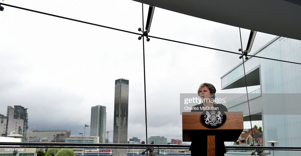 British Prime Minister Theresa May delivers a keynote speech at the Waterfront Hall on July 20, 2018 in Belfast, Northern Ireland. The Prime Minister is on a two-day visit to Northern Ireland. During her visit, focussing on Brexit and the deadlock at Stormont, she will visit the Irish border and discuss the potential impact of Brexit with Northern Irish businesses.