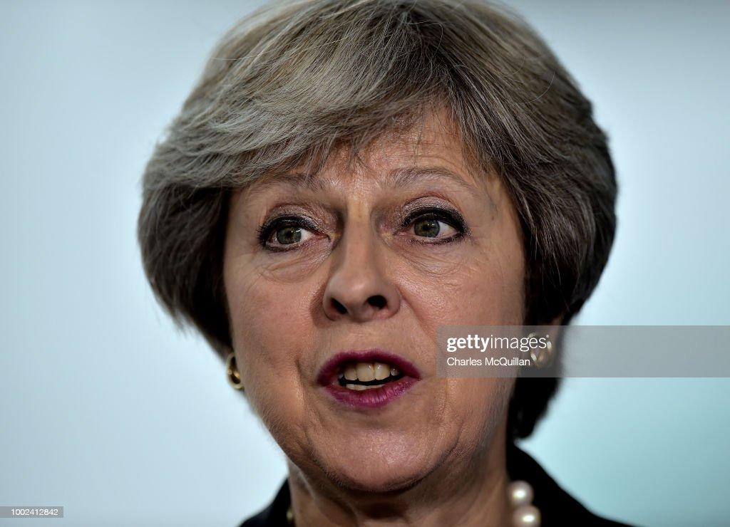 British Prime Minister Theresa May Visits Northern Ireland : News Photo