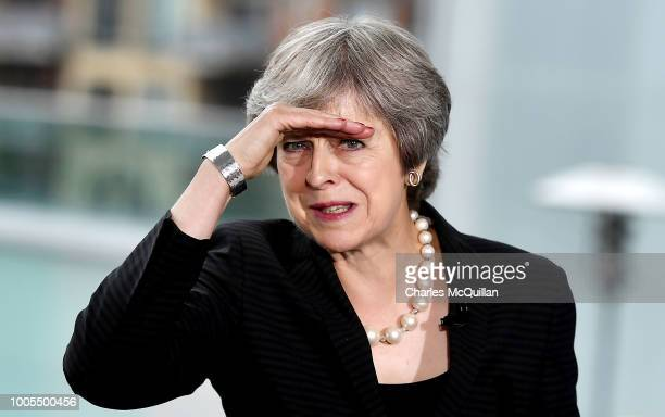 British Prime Minister Theresa May delivers a keynote speech at the Waterfront Hall on July 20, 2018 in Belfast, Northern Ireland. The Prime Minister...