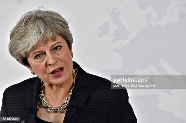 British Prime Minister Theresa May delivers a speech aimed at unlocking Brexit talks in Florence Italy on September 22 2017 May seeked to unlock...