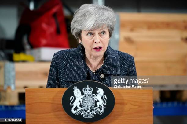 British Prime Minister Theresa May delivers a speech at British Prime Minister Theresa May delivers a speech at Ørsted East Coast Hub on March 8 2019...