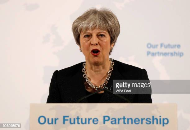 British Prime Minister Theresa May delivers a speech at Mansion House on March 2 2018 in London England Theresa May sets out five tests for the...