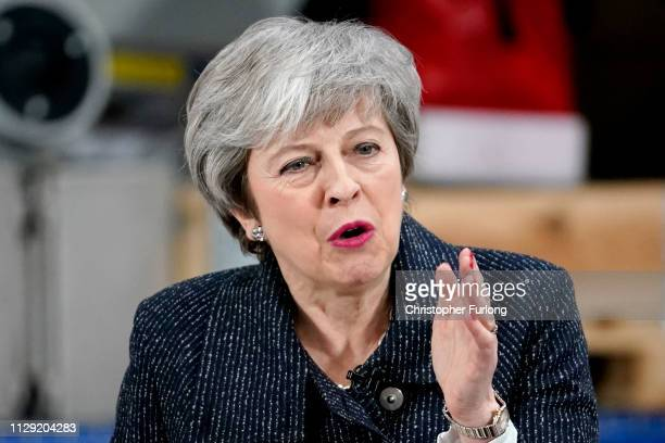 British Prime Minister Theresa May delivers a speech at Ørsted East Coast Hub on March 8 2019 in Grimsby England The prime minister said she remained...