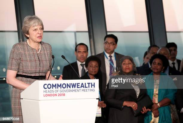 British Prime Minister Theresa May delivers a speech during a welcome reception for the Commonwealth Heads of Government on day 4 of the Commonwealth...