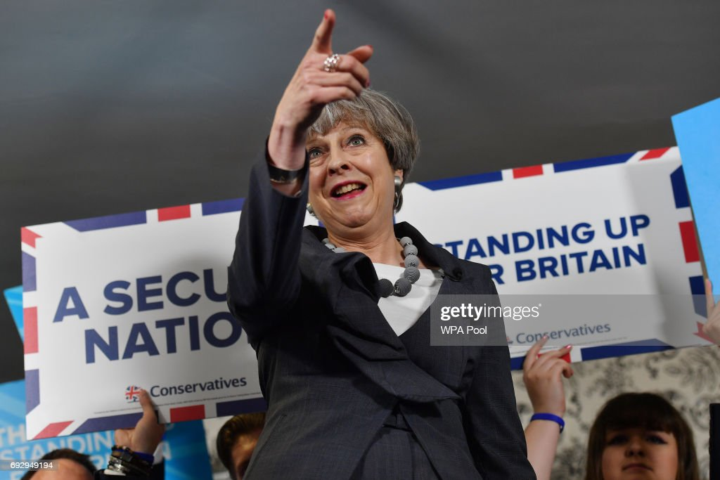 British Prime Minister Theresa May delivers a speech during an election campaign visit to Langton Rugby Club on June 6, 2017. Stoke-on-Trent, England. Britain goes to the polls on June 8 to vote in a general election only days after another terrorist attack on the nation's capital.
