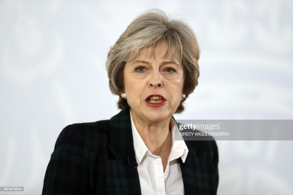 British Prime Minister Theresa May delivers a speech on the government's plans for Brexit at Lancaster House in London on January 17, 2017. Britain will exit the EU's single market when it leaves the bloc because it wants to restrict the arrival of EU immigrants, British Prime Minister Theresa May said on Tuesday. / AFP / POOL / Kirsty Wigglesworth