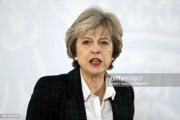 British Prime Minister Theresa May delivers a speech on the government's plans for Brexit at Lancaster House in London on January 17 2017 Britain...
