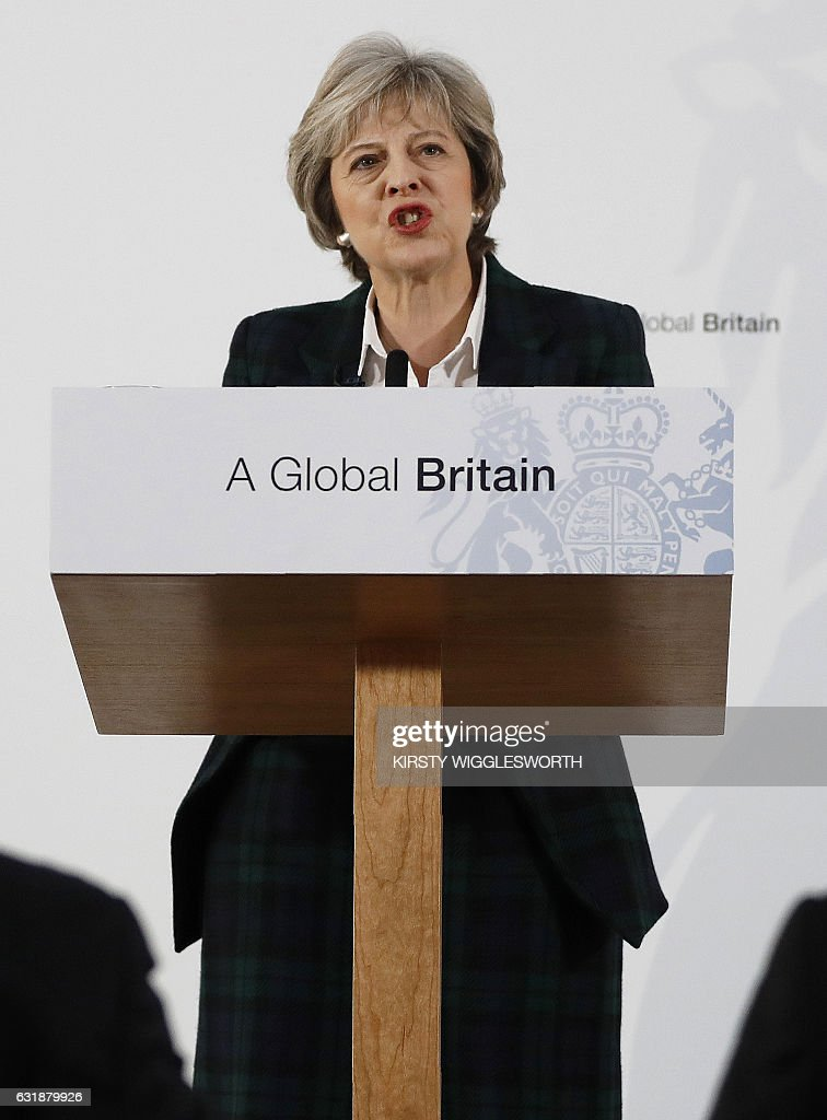 British Prime Minister Theresa May delivers a speech on the government's plans for Brexit at Lancaster House in London on January 17, 2017. Prime Minister Theresa May on Tuesday said Britain will leave the EU's single market in order to restrict immigration in a clean break from the bloc, but lawmakers can vote on the final deal. / AFP / POOL / Kirsty Wigglesworth