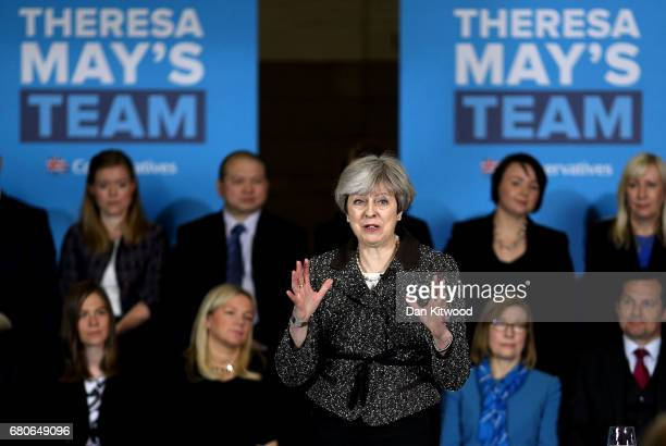 British Prime Minister Theresa May delivers a speech to activists journalists and business leaders at York Barbican while campaigning in Yorkshire on...