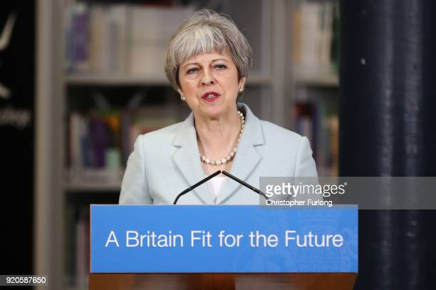 British Prime Minister Theresa May delivers a speech to students and staff during her visit to Derby College on February 19 2018 in Derby England...