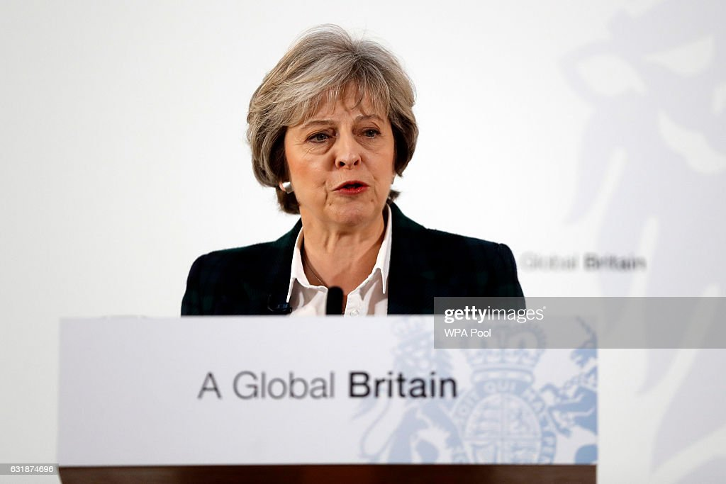 The British Prime Minister Delivers Her Brexit Speech : News Photo