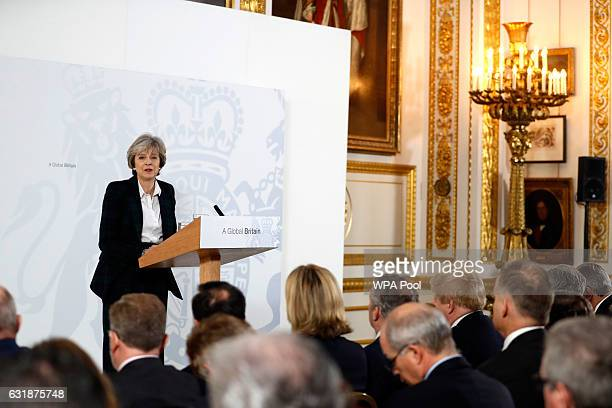 British Prime Minister Theresa May delivers her keynote speech on Brexit at Lancaster House on January 17 2017 in London England It is widely...