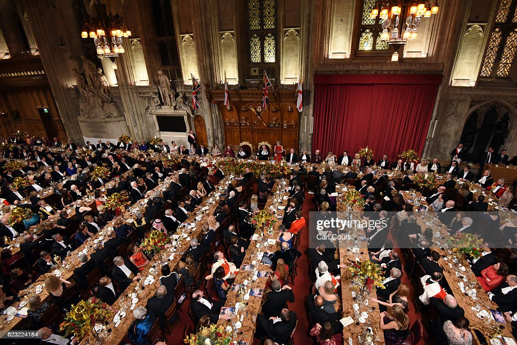 British Prime Minister Theresa May delivers her speech at the Lord Mayor's Banquet at Guildhall on November 14, 2016 in London, England. The Lord Mayor of London, Andrew Parmley, is hosting the annual Lord Mayor's Banquet in London's Guildhall which will feature speeches from the Prime Minister and the Archbishop of Canterbury. Andrew Parmley was recently elected 689th Lord Mayor of the City of London, a role that has been in existence since 1189.