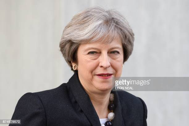 British Prime Minister Theresa May departs after visiting a housing estate on November 16 2017 in London England British Prime Minister May has...