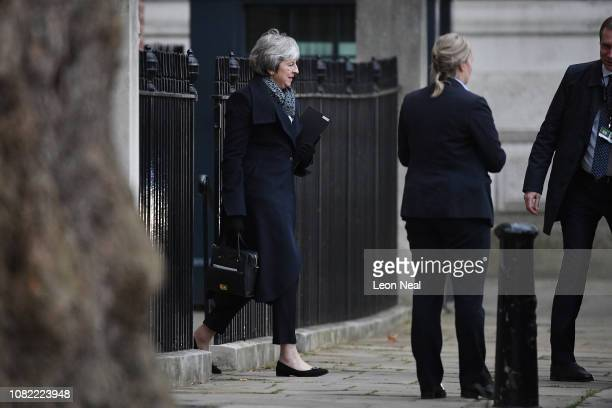 British Prime Minister Theresa May departs Downing Street on January 14 2019 in London England