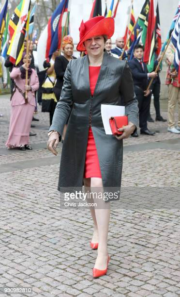 British Prime Minister Theresa May departs the 2018 Commonwealth Day service at Westminster Abbey on March 12 2018 in London England