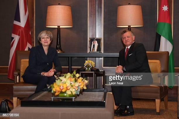 British Prime Minister Theresa May during a bilateral meeting with King Abdullah II of Jordan at the Royal Palace on November 30, 2017 in Amman,...