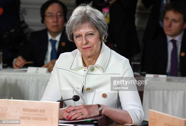 British Prime Minister Theresa May during the G7 Outreach working session on day two of the G7 Summit on June 9 2018 in Quebec City Canada Canada are...