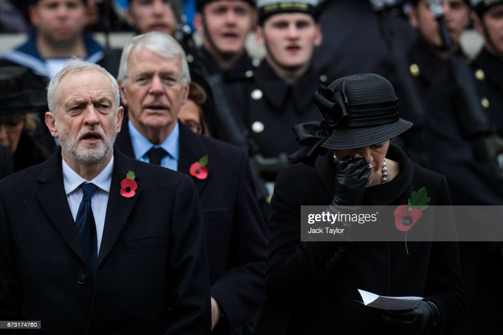 British Prime Minister Theresa May, former Prime Minister John Major and Labour Leader Jeremy Corbyn attend the annual Remembrance Sunday memorial on November 12, 2017 in London, England. The Prince of Wales, senior politicians, including the British Prime Minister and representatives from the armed forces pay tribute to those who have suffered or died at war.