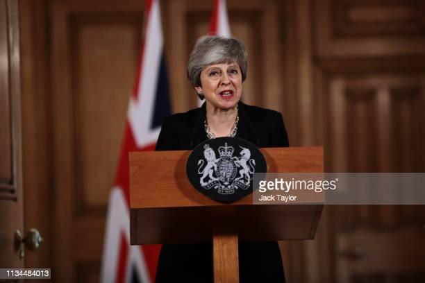 British Prime Minister Theresa May gives a press conference inside Downing Street on April 2 2019 in London England Cabinet Ministers have held a...