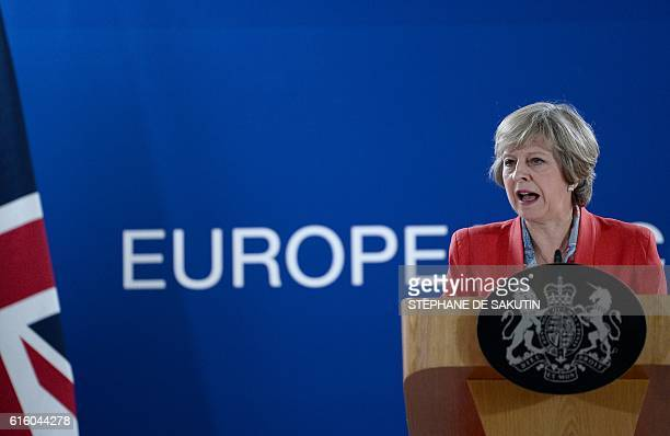 British Prime minister Theresa May gives a press conference on the second day of a European Union leaders summit on October 21 2016 at the European...