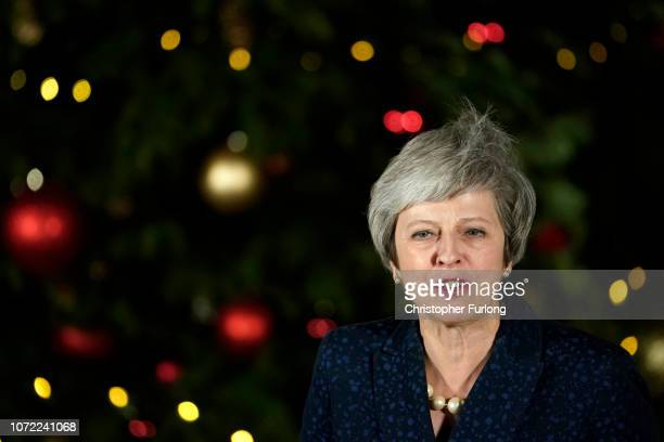 British Prime Minister Theresa May gives a speech after winning the confidence vote on December 12 2018 in London England Theresa May survived a...