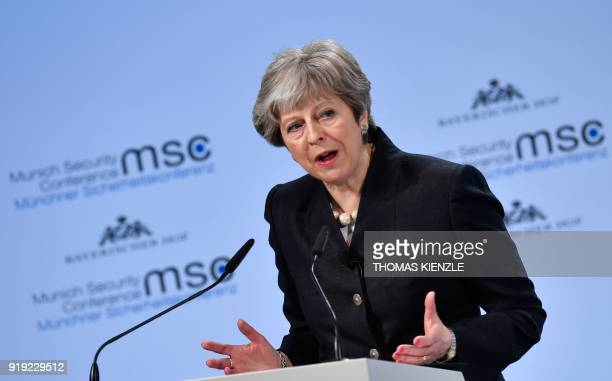British Prime Minister Theresa May gives a speech during the Munich Security Conference on February 17 2018 in Munich southern Germany Global...
