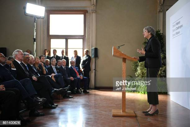 British Prime Minister Theresa May gives her landmark Brexit speech in Complesso Santa Maria Novella on September 22 2017 in Florence Italy She...