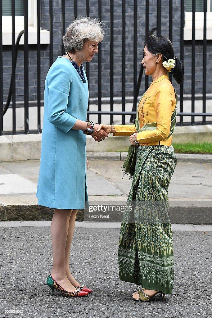 Aung San Suu Kyi Visits Downing Street : News Photo
