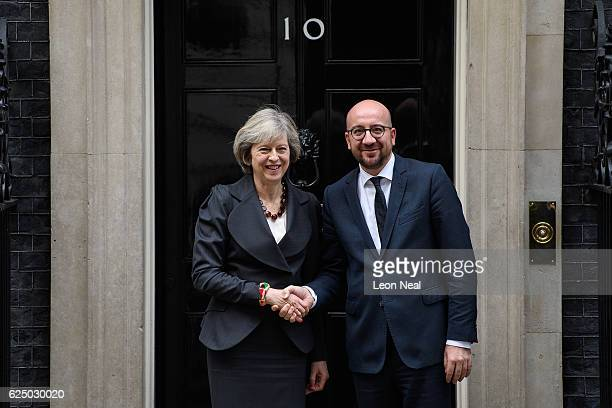British Prime Minister Theresa May greets her Belgian counterpart Charles Michel ahead of a meeting at 10 Downing Street on November 22, 2016 in...