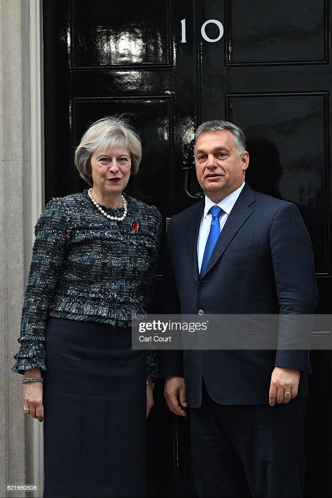 British Prime Minister Greets Her Hungarian Counterpart