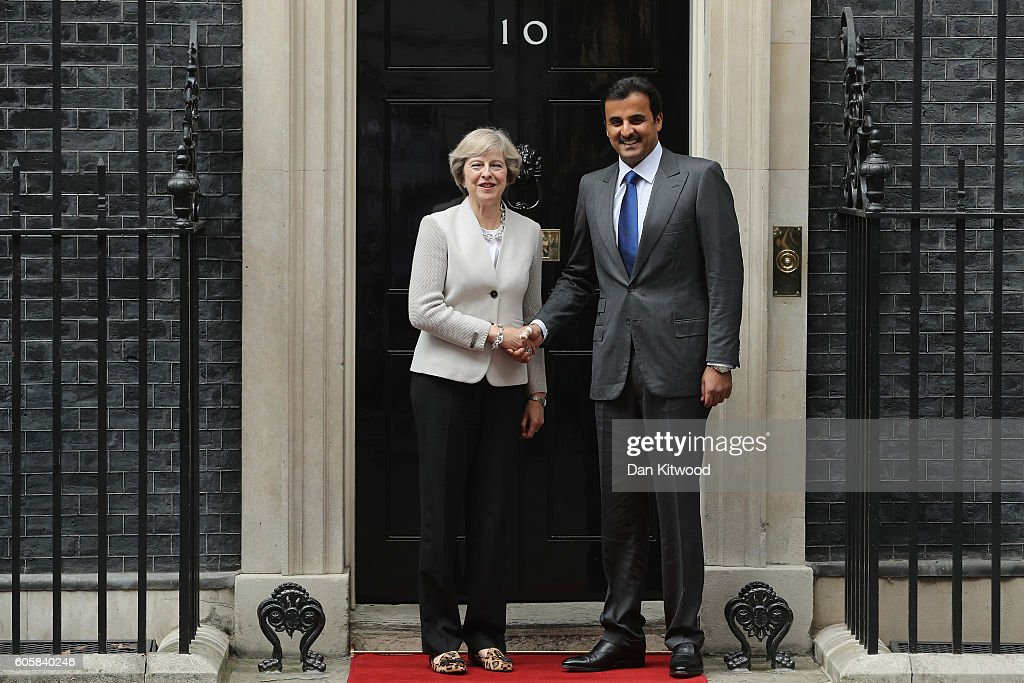 The British Prime Minister Greets The Emir Of Qatar