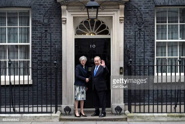 British Prime Minister Theresa May greets Israeli Prime Minister Benjamin Netanyahu as he arrives in Downing Street on February 6, 2017 in London,...