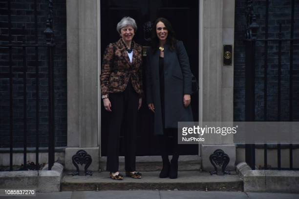 British Prime Minister Theresa May greets New Zealand's Prime Minister Jacinda Ardern outside 10 Downing Street in central London on January 21 2019