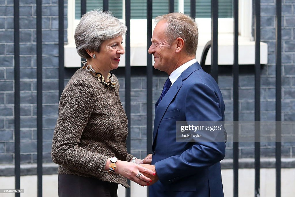 The British Prime Minister Greets The President of the European Council