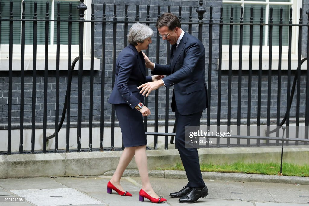 British Prime Minister Theresa May greets Prime Minister of the Netherlands Mark Rutte outside Downing Street on February 21, 2018 in London, England. The leaders are expected to discuss the progress of Brexit.