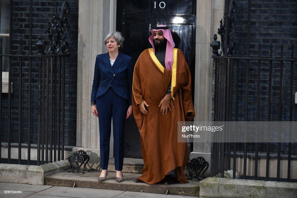 Theresa May Meets Saudi Crown Prince : News Photo