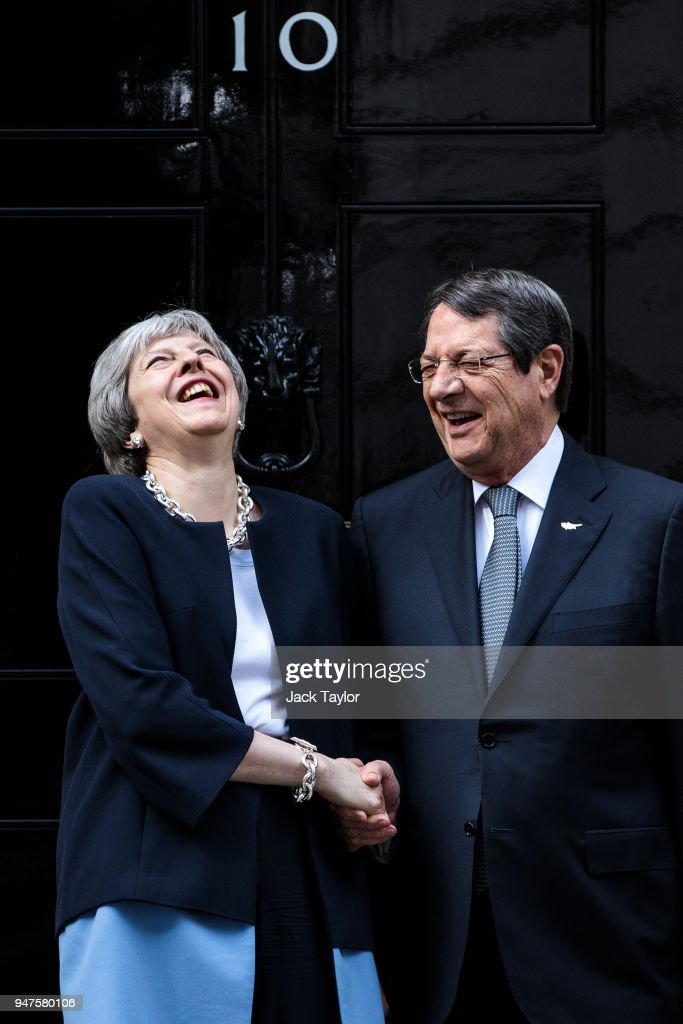 British Prime Minister Theresa May greets the Cypriot President Nicos Anastasiades outside Number 10 Downing Street ahead of a bilateral meeting on April 17, 2018 in London, England. The UK this week hosts heads of state and government from the Commonwealth nations.