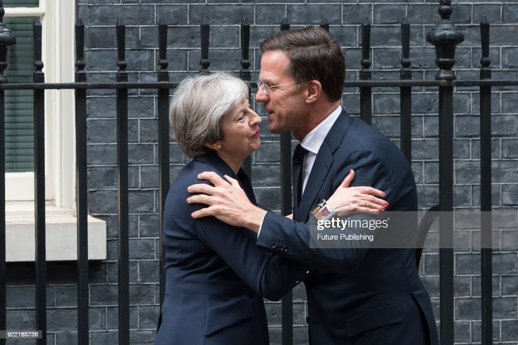 British Prime Minister Theresa May greets the Dutch Prime Minister Mark Rutte before talks at 10 Downing Street in central London. February 21, 2018 in London, England.