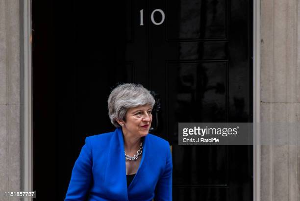 British Prime Minister Theresa May greets the President of Iraq Barham Salih at 10 Downing Street on June 25, 2019 in London, England.