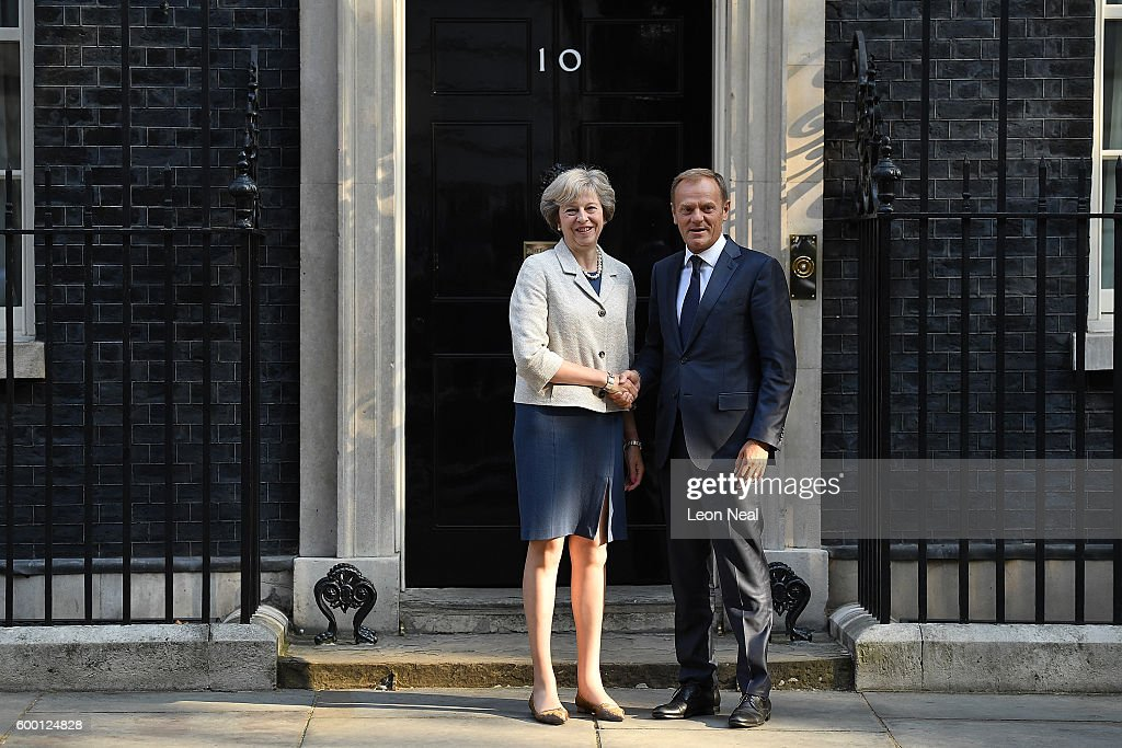 Theresa May Greets The President Of The European Council Donald Tusk