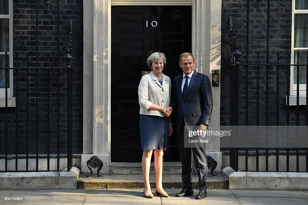 Theresa May Greets The President Of The European Council Donald Tusk : News Photo