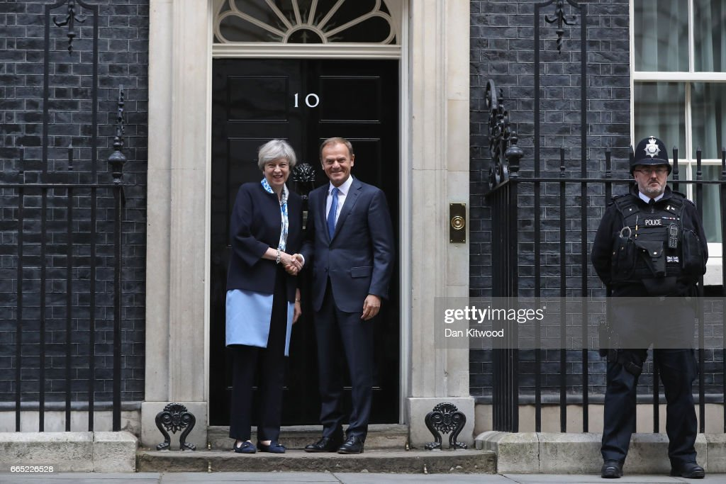 UK Prime Minister Meets With The European Council President Donald Tusk : ニュース写真
