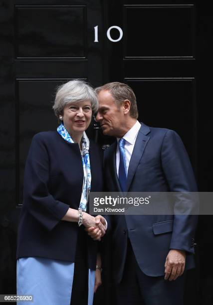 British Prime Minister Theresa May greets The President of the European Council Donald Tusk on the doorstep of 10 Downing Street on April 6 2017 in...