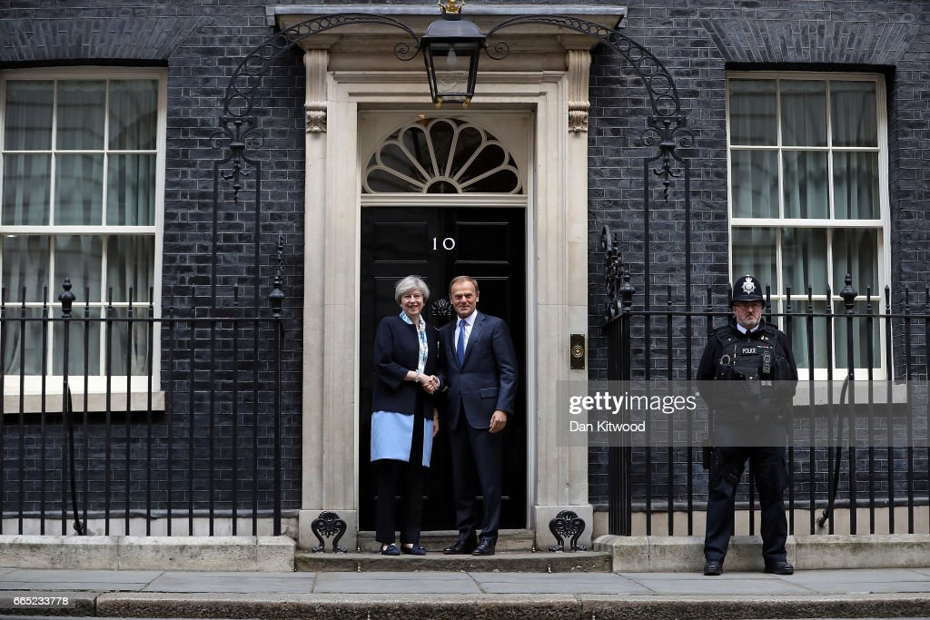 UK Prime Minister Meets With The European Council President Donald Tusk : News Photo