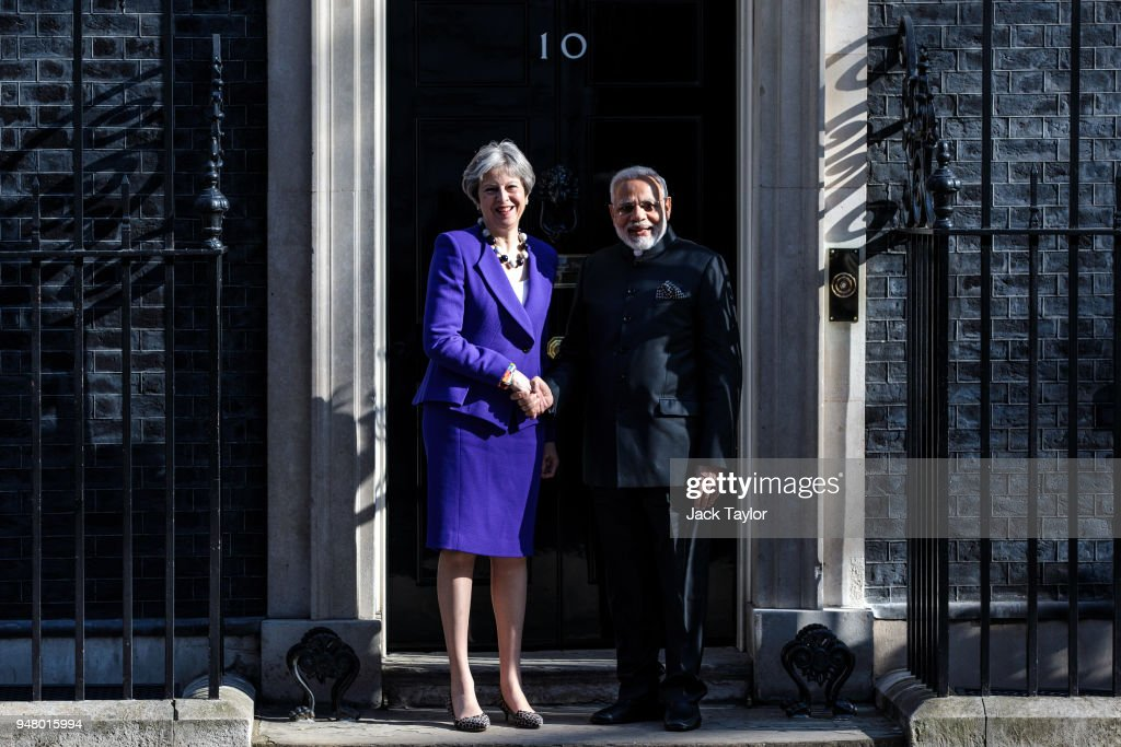 British Prime Minister Theresa May greets the Prime Minister of India Narendra Modi outside Number 10 Downing Street ahead of a bilateral meeting on April 18, 2018 in London, England. Mrs May holds bilateral talks with a number of Commonwealth leaders today as the UK this week hosts heads of state and government from the Commonwealth nations.