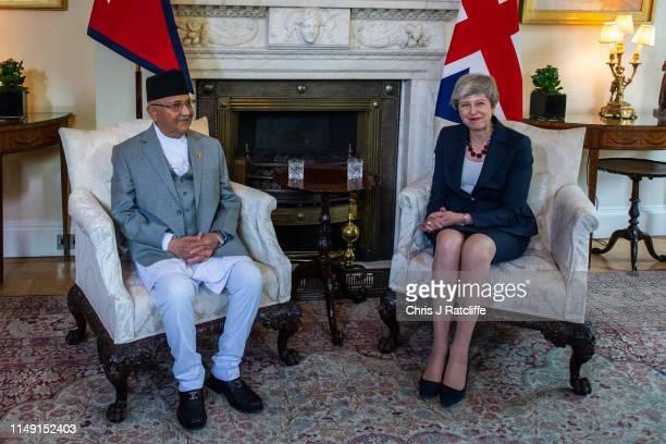 British Prime Minister Theresa May greets the Prime Minister of Nepal, Khadga Prasad Sharma Oli, ahead of bilateral talks at 10 Downing Street on...